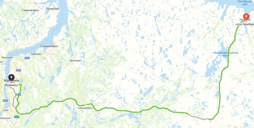 Дорога до Териберки на карте