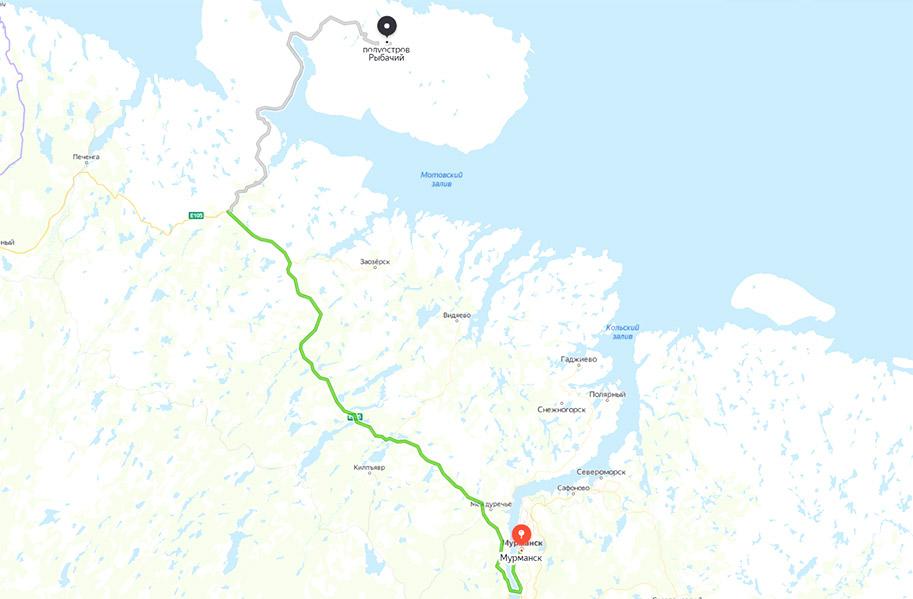 Дорога, маршрут на полуостров Рыбачий